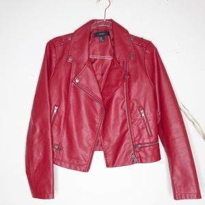 Forever 21 red faux leather jacket size M